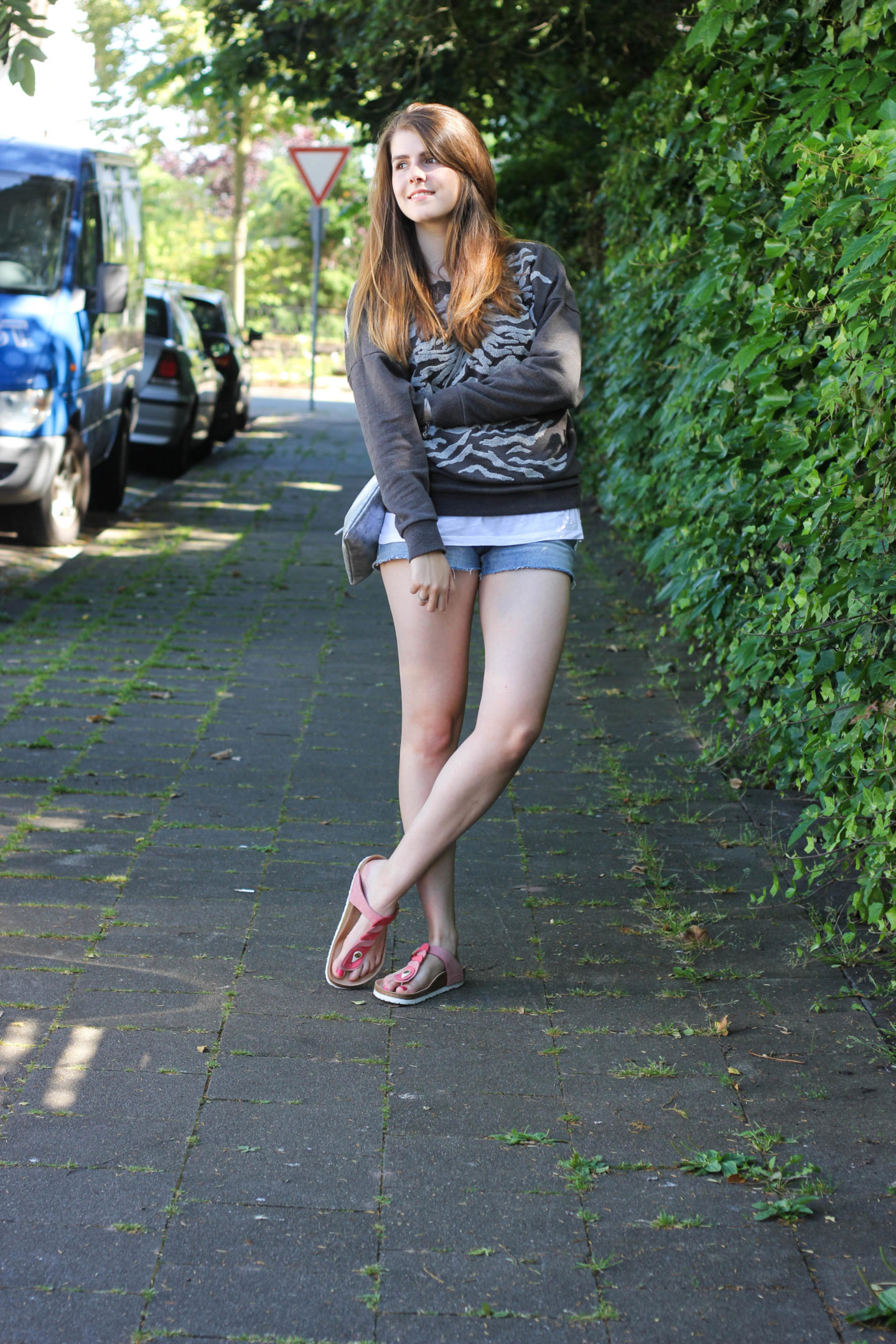 All Saints Sweater Jeans Shorts
