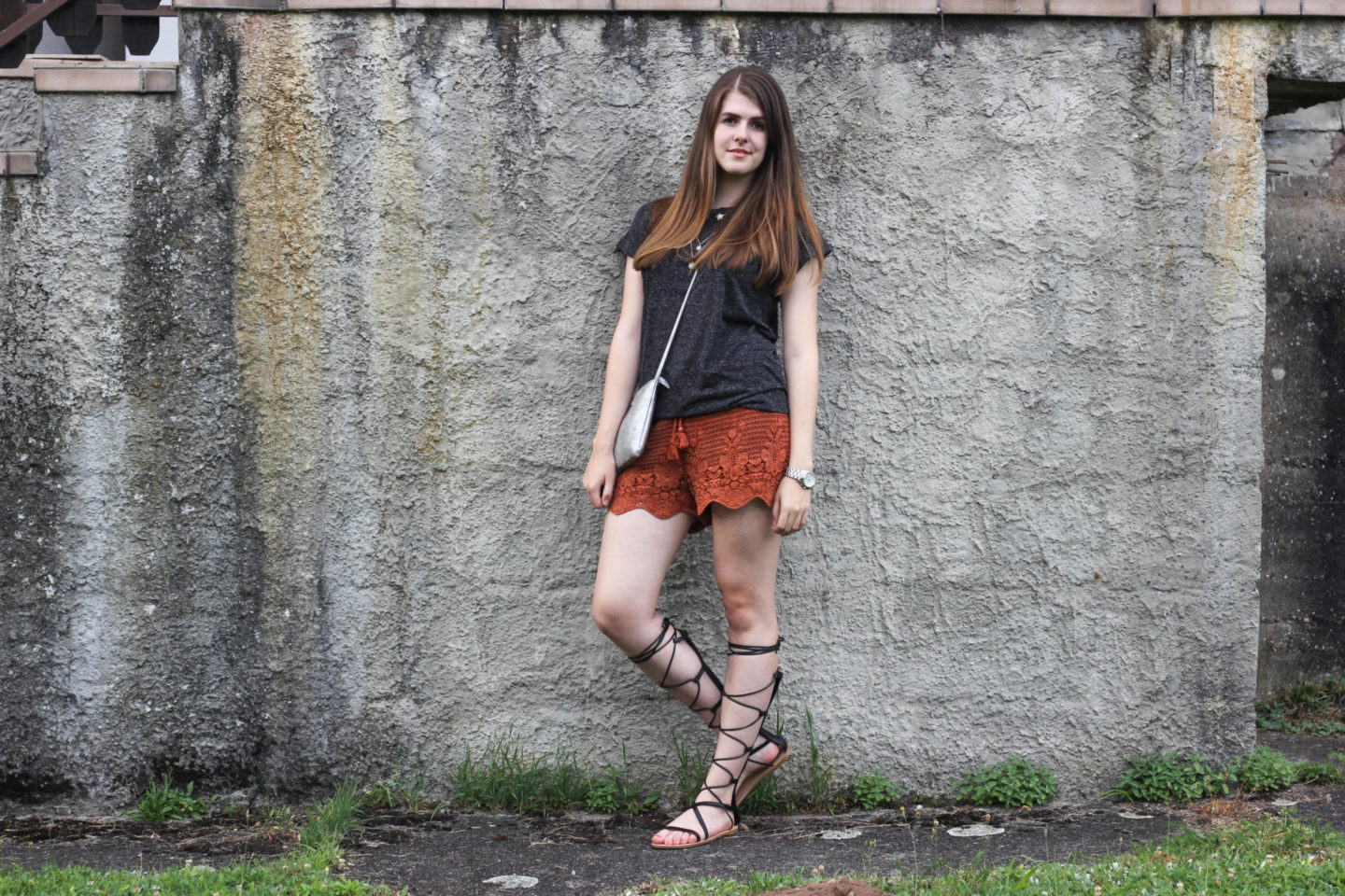 Crochet Shorts Gladiator Sandals