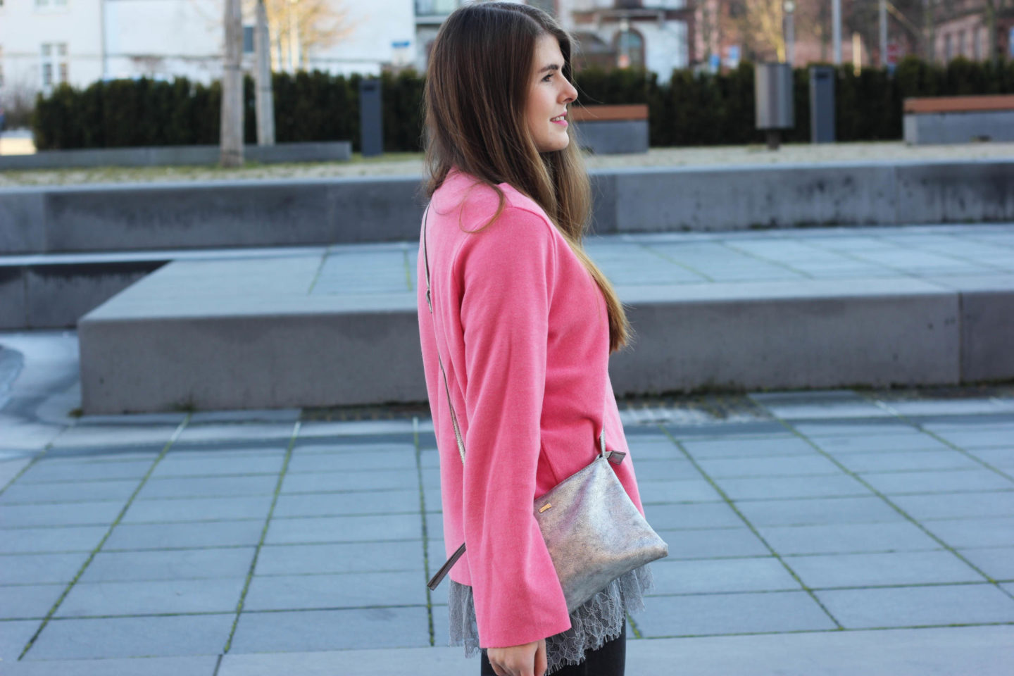Pink Sweater Layering Look