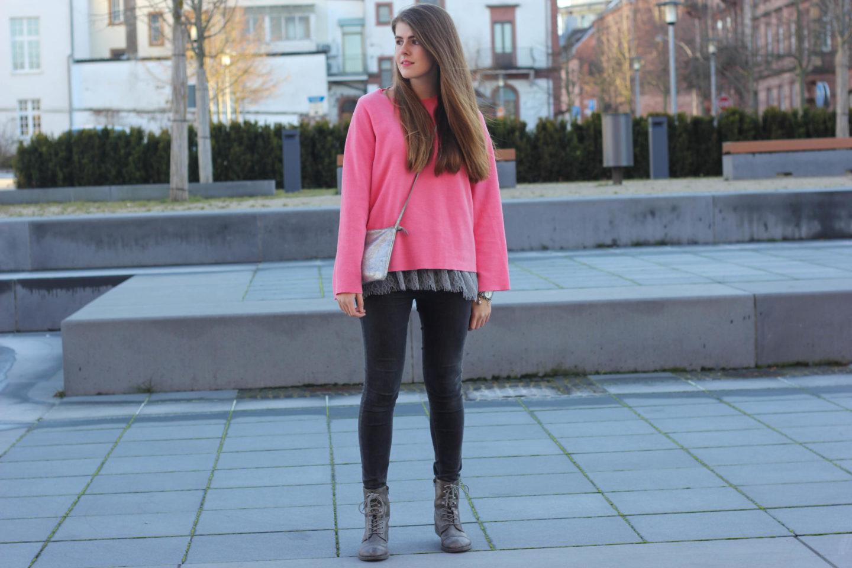 pink sweater winter layering
